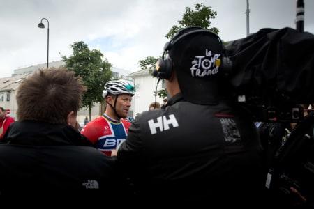 IKKE INNAFOR: Thor Hushovd var ikke helt fornøy med dagens fjerdeplass.