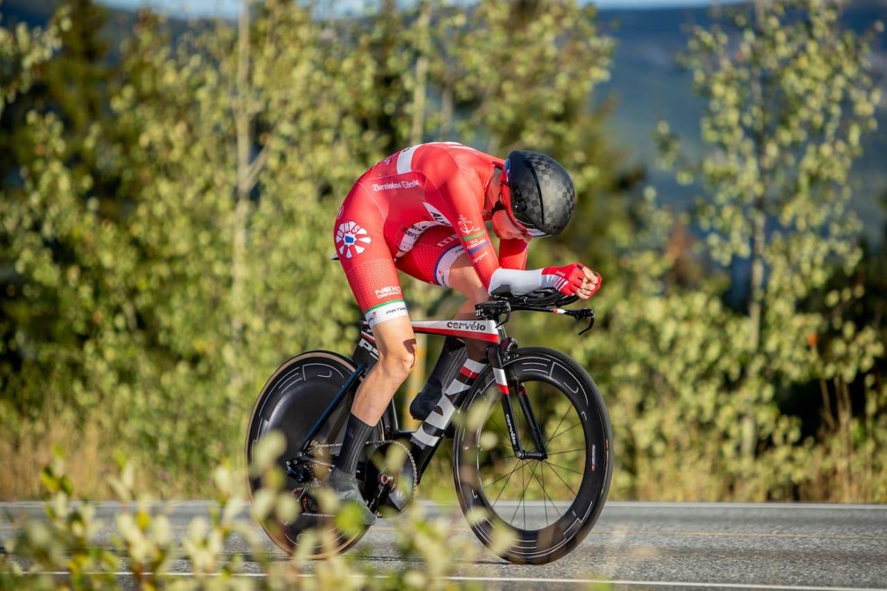 TEMPOVINNER: Martin Toft Madsen fra BHS-Almeborg Bornholm vant første ritt i Uno-X Development Weekend. Foto: Pål Westgaard