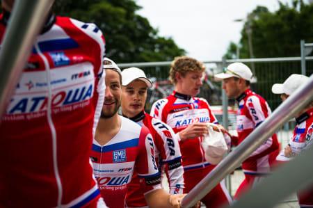 PREMIERT: Team Katusha begynner å bli vant til å stå på podiet denne helgen.