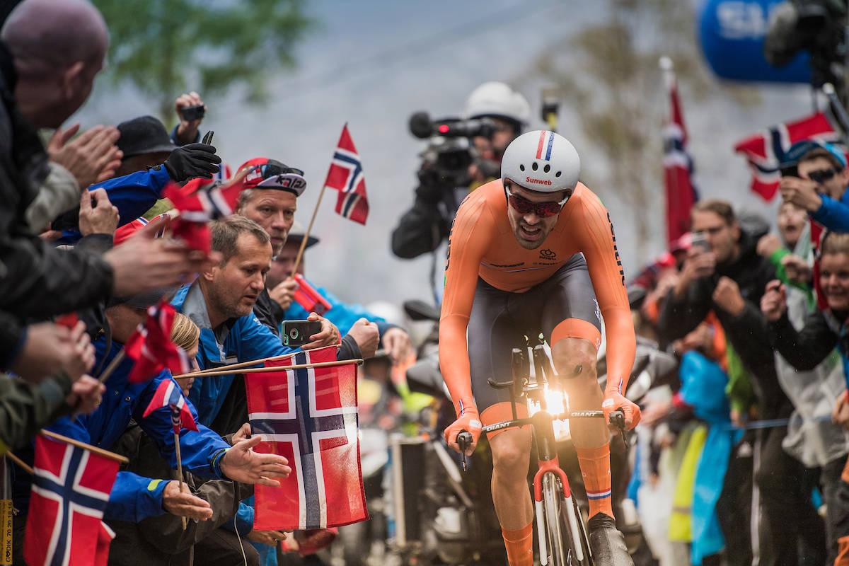I DET UMULIGE HJØRNET: Tom Dumoulin var nesten minuttet foran nærmeste konkurrent. Foto: Kristof Ramon.