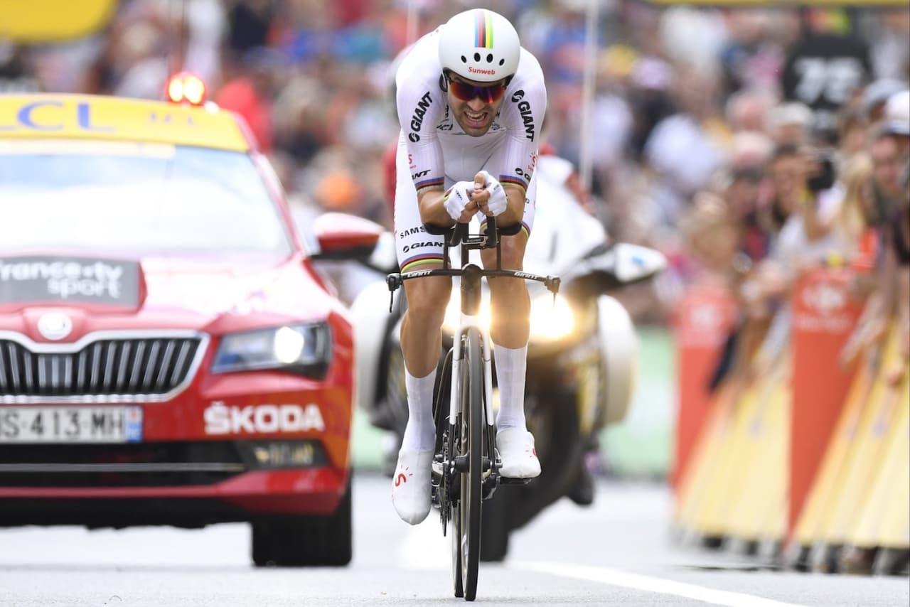 TEMPOMESTEREN: Tom Dumoulin er regjerende tempoverdensmester og leverte på den nest siste etappen i Tour de France. Foto: Cor Vos