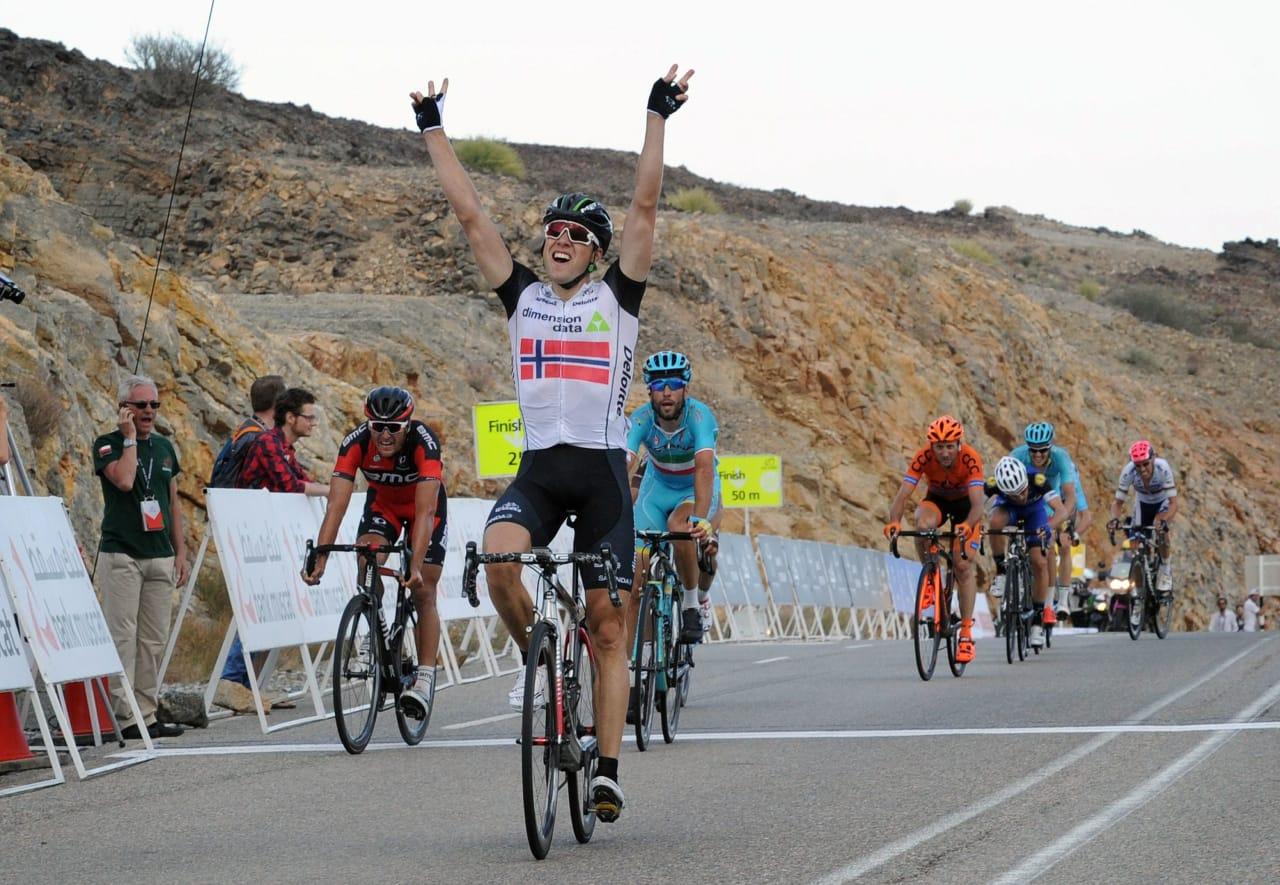 I KANONFORM: Edvald Boasson Hagen herjer med konkurrentene i Tour of Oman. Foto: Cor Vos.