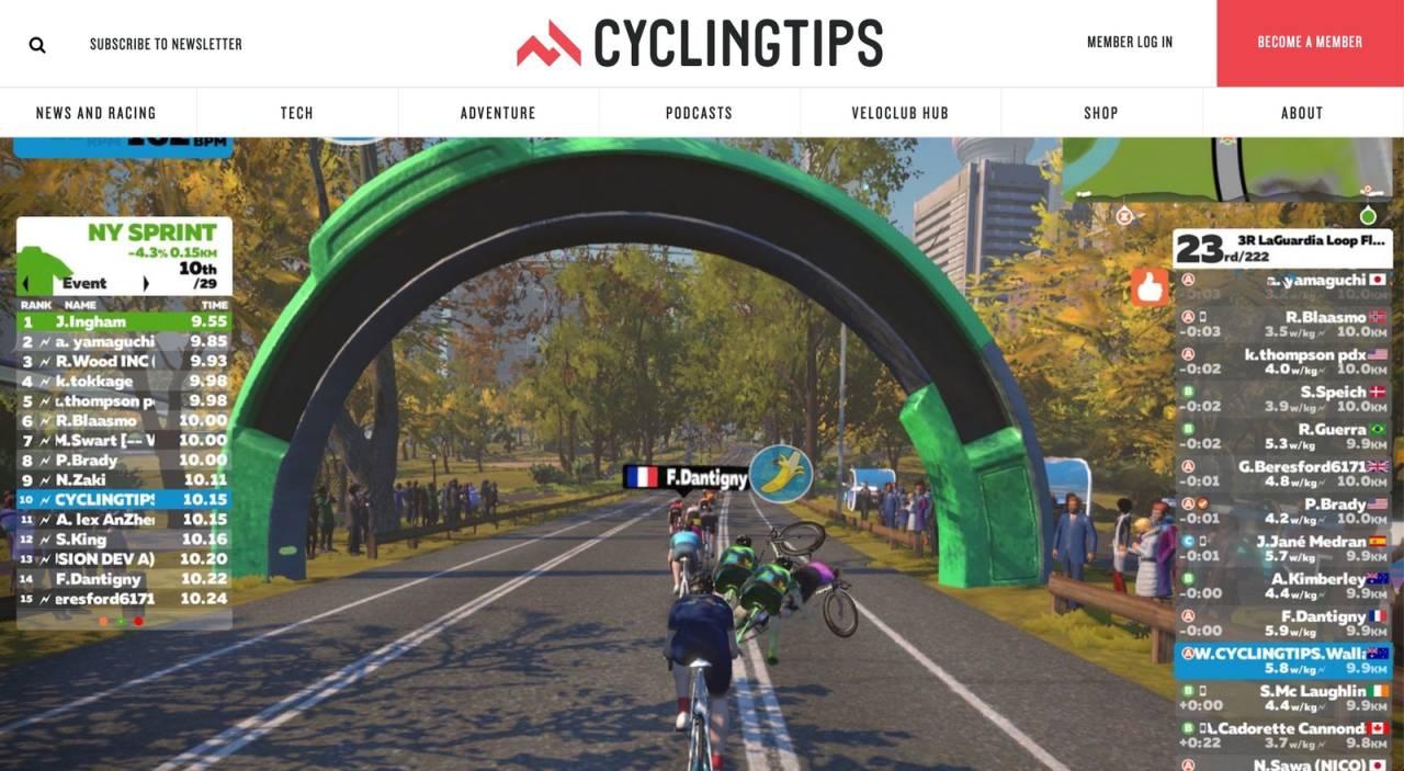 MASSEVELT? I følge cyclingtips.com kommer det nå en velte-funksjon i Zwift. Aprilsnar? Skjermdump, cyclingtips.