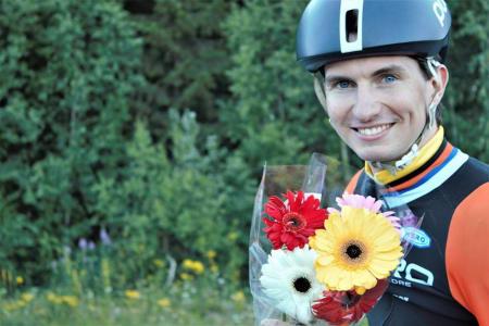 LEDER: Sindre Bjerkestrand Haugsvær leder Rojan Rundfahrt etter første etappe torsdag kveld. Foto: Kirsti Ruud