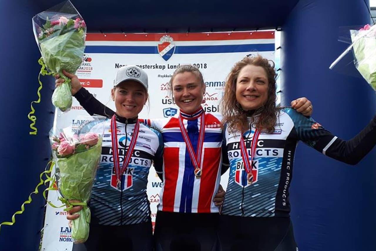 GULL: Line Marie Gulliksen tok tempogullet på NM 2018, foran Thea Thorsen på andreplass og tittelforsvarer Vita Heine på tredje. Foto: NCF