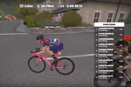 GNIEN WATTMÅLER: Kristin Falck opplever at utstyret hennes rapporterer dårligere wattverdier enn en del av det konkurrentene bruker, og det koster henne dyrt i kampen mot proffene i Tour de Zwift.