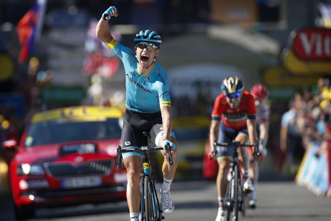 LYKKELIG: Tour de France-debutanten Magnus Cort Nielsen tok Damarks første etappeseier siden 2009. Foto: Cor Vos