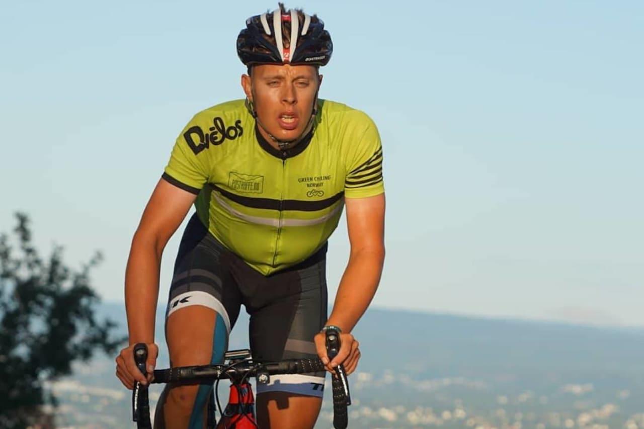 NORGESREKORD: Jonas Orset syklet 10 000 høydemeter på 12 timer, 50 minutter og 52 sekunder under Hope Challenge 2018. Foto: Bjørn Saksberg