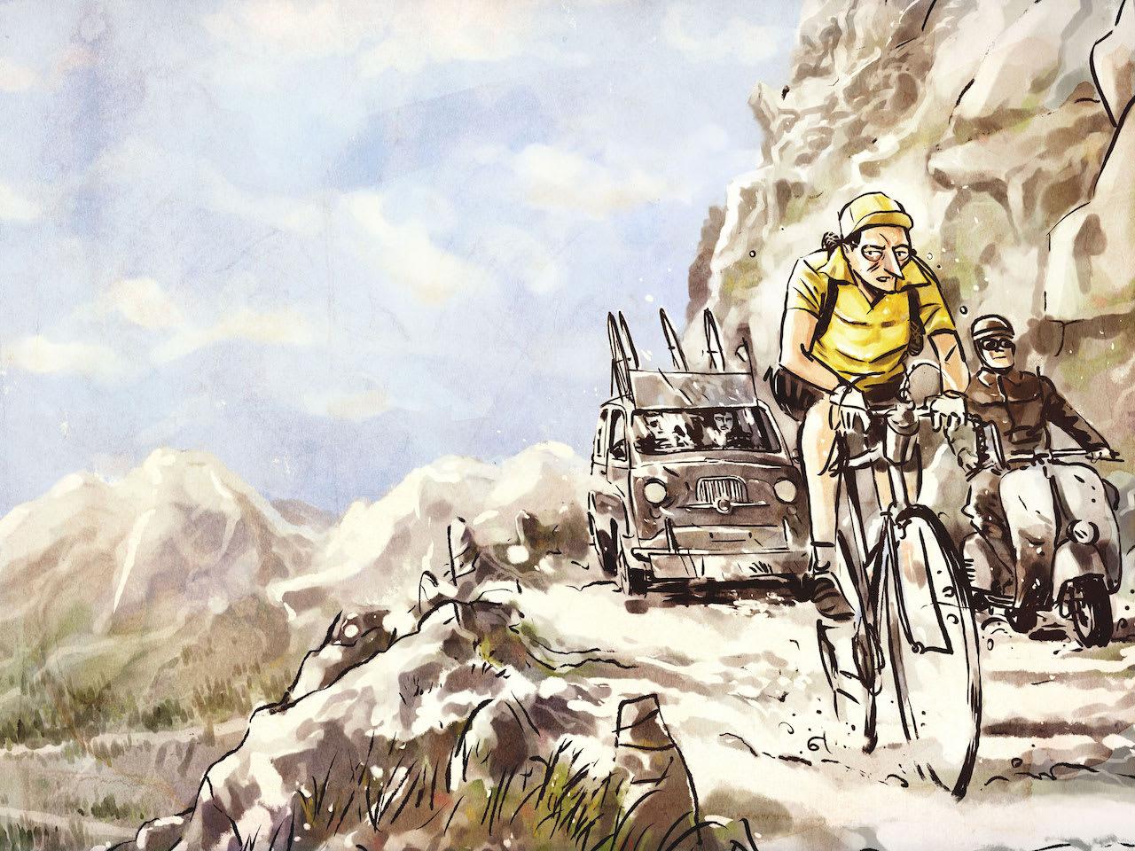 ITALIENER I GULT: Fausto Coppi ville aller helst vinne giroens rosa trøye, men gjør man når touren har høyere status? Illustrasjon: Davide Pascutti.