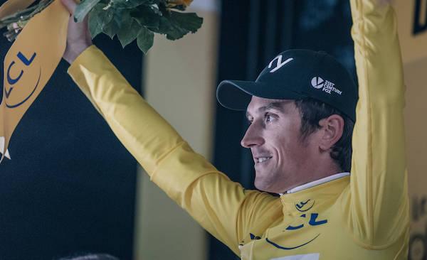 OVERLEGEN: Geraint Thomas mestret de våte forholdene best og tok etappeseier og gul trøye på Tourens første dag. Foto: Kristof Ramon