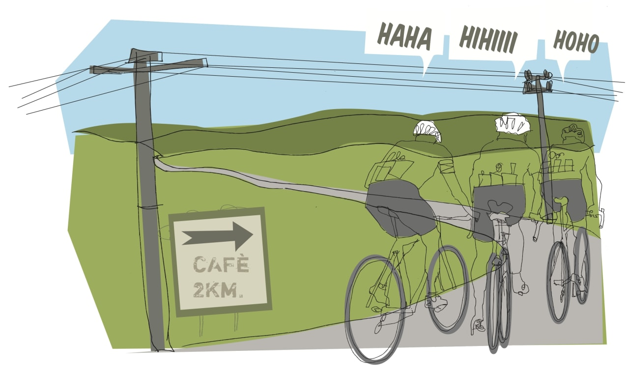 KAFFEPAUSE: Den rolige langturen er et fabelaktig treningsverktøy for enhver landeveissyklist. Illustrasjon: Joar Christoffersen.