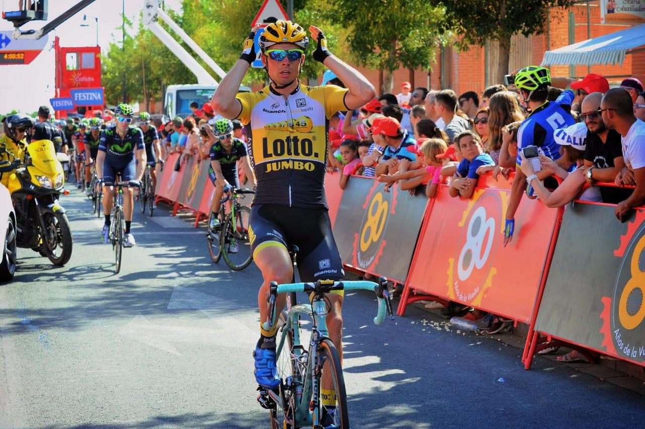 SJELDEN SEIER: Bert-Jan Lindeman sørget for at Lotto-JumboNL for en gangs skyld fikk noe å juble for. Foto: Cor Vos.
