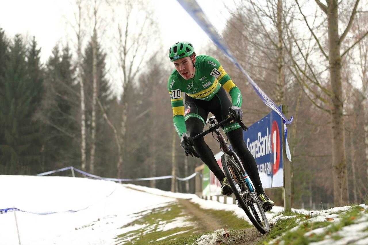 NORGESMESTER: Erik Nordsæter Resell vant norgesmesterskapet i sykkelkross i Skien med knusende margin. Foto: Ola Morken