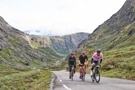 TREDELT SEIER: Atle Thoresen (bak), Eirik Langøy (midten) og Eivind Nordal Gran (foran) delte seieren i Jotunheimen Rundt 2019 etter 22 mil i tet. Foto: Ola Morken.