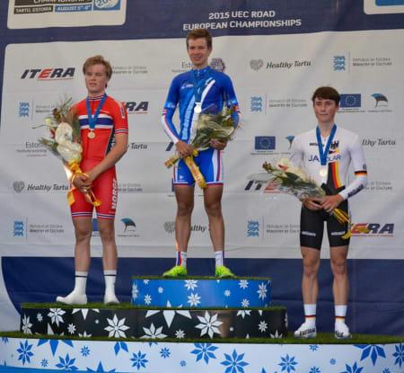 ET STEG OPP: I fjor ble han nummer tre, i år ble det EM-sølv på tempo for Tobias Foss. Foto: Alf Mange Foss.