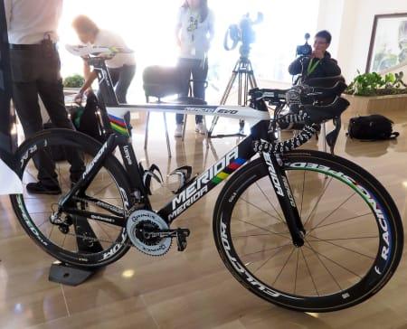 <b>PERFEKT:</b> Rui Costas sykkel er så velproposjonert og stilig at den gjør seg godt på utstilling.