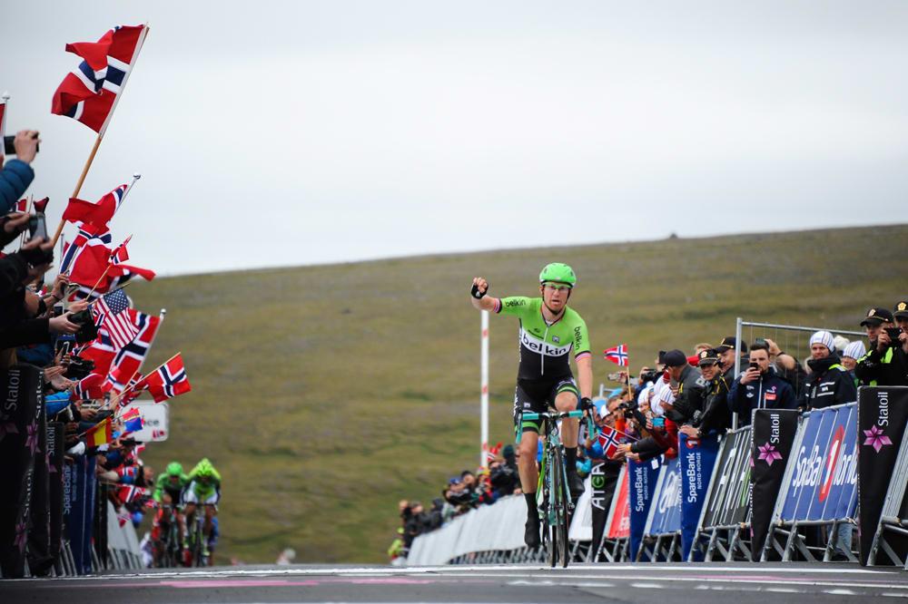 SOM ØNSKELIG: Lars Petter Nordhaug vant dagens etappe på den måten han liker best: Solo til mål. Foto: ASO.