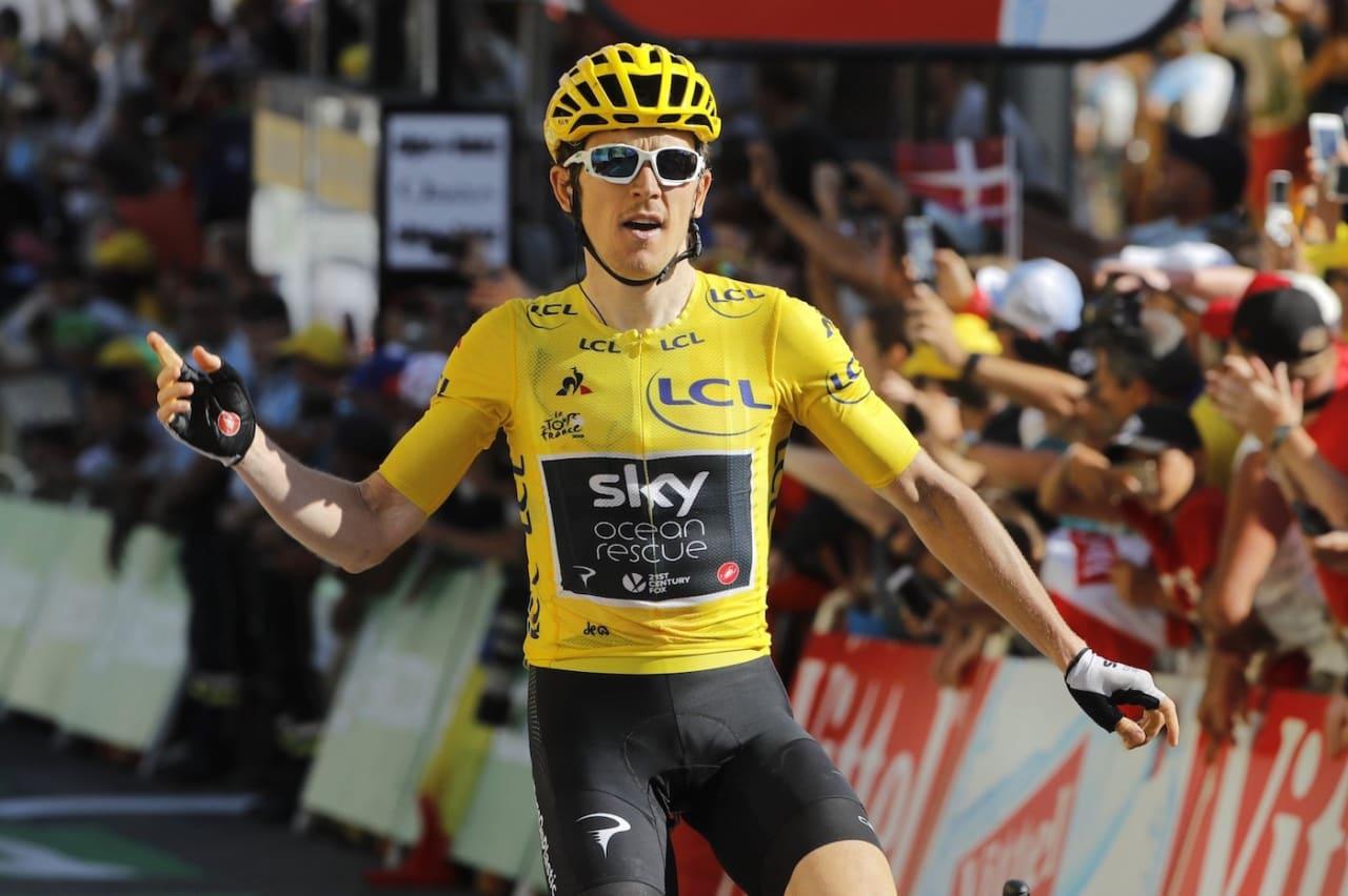 MESTERLIG: - Jeg er målløs, sa Geraint Thomas etter sin andre strake seier i Alpene. Og så pratet han som en foss om gleden ved å ta nok en etappeseier. Foto: Cor Vos