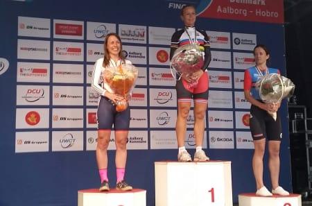 Elisabeth Solberg debuterte til VM-seier på tempo under Masters-VM i Danmark torsdag. Helen McKay og Jessica Bacon fra Storbritannia ble henholdsvis nummer to og tre. Foto: Privat