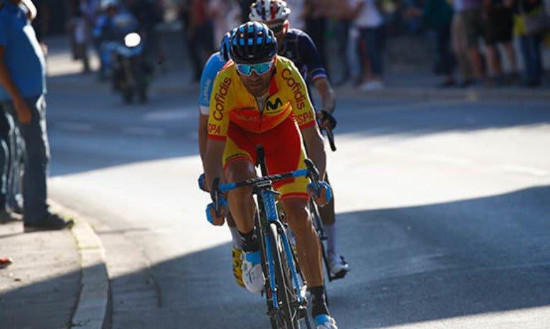EKSPLOSIV VETERAN: Valverde klatret godt og spurtet best. Det holdt til VM-gull. Foto: Arrangøren
