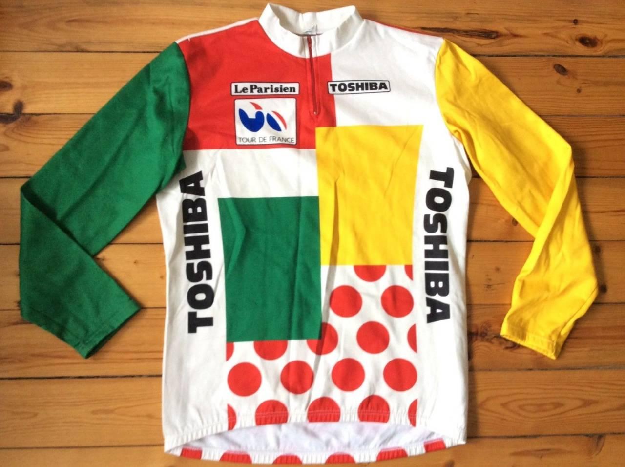 STYGG SAK: Dette var faktisk en trøye du kunne vinne i Tour de France, Bernard Hinault har eksempelvis båret den ved flere anledninger. Foto: Toshiba.