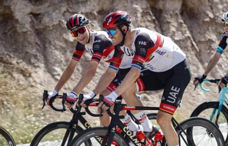 SISTE SESONG I UAE-TØY: Sven Erik Bystrøm og Alexander Kristoff skal ikle seg nye drakter kommende sesong. Foto: Cor Vos