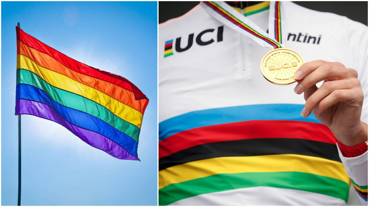 TIL FORVEKSLING LIKE: Regnbueflagget er et symbol på toleranse og åpenhet, noe ganske annet enn syklingens regnbuetrøye. Men hvor er toleransen for homofili i sykkelsporten? Foto: Shutterstock/ Cor Vos.