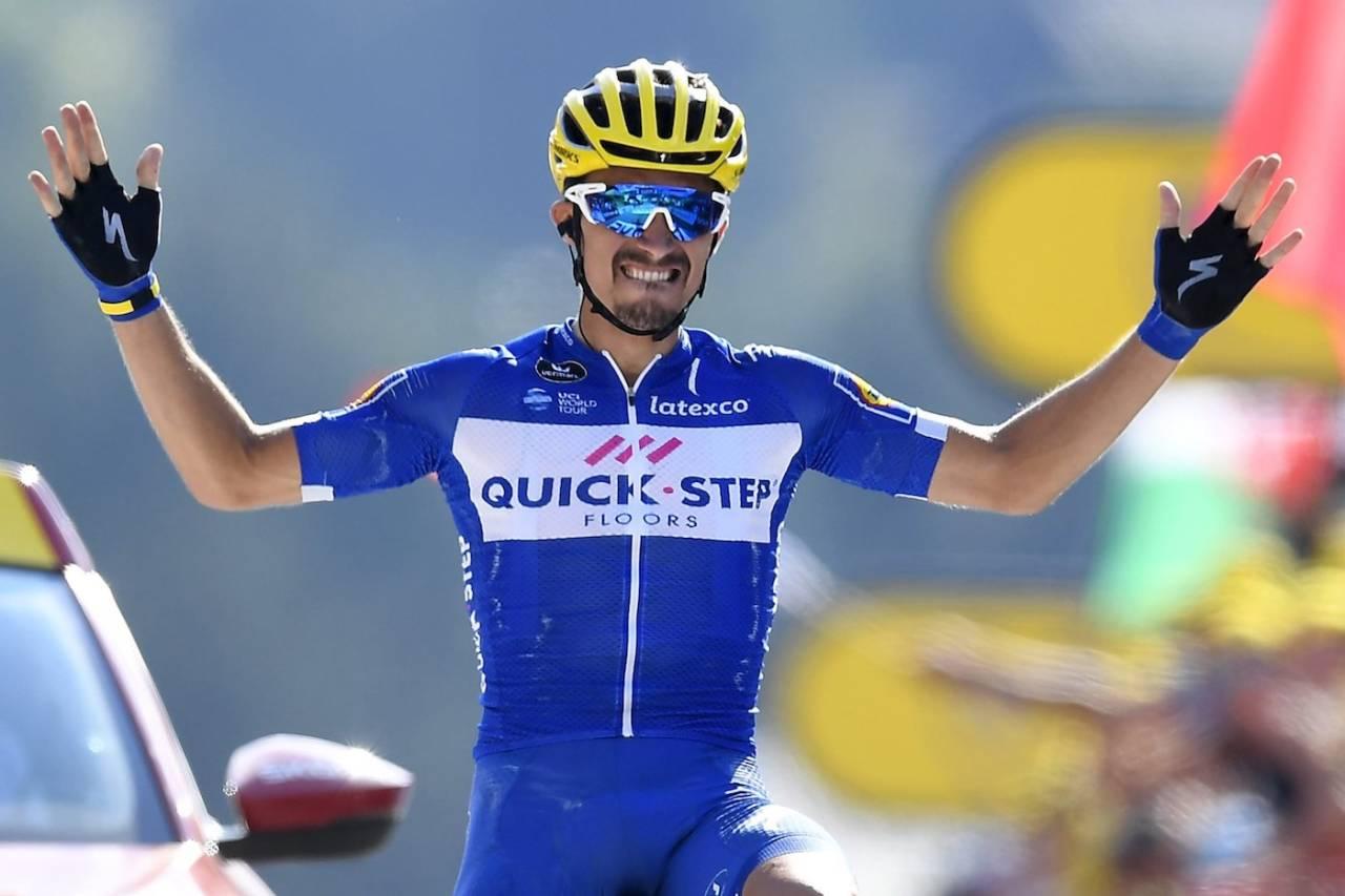 FØRSTE ETAPPESEIER: Julian Alaphillippe vant den første fjelletappen i årets Tour, og sin første Tour de France-etappe. Foto: Cor Vis