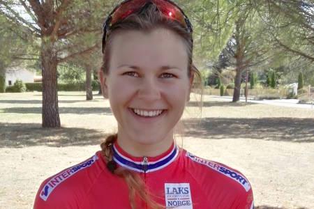 FORNØYD: Katrine Aalerud kjørte inn til 8. plass på EM-tempoen i Frankrike, og er greit fornøyd med mesterskapsdebuten. Foto: NCF