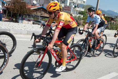 NÆR IGJEN: Kristoffer Halvorsen var frempå i Boucles de la Mayenne, men nådde ikke helt frem. Her i aksjon i Tour of Turkey i april. Foto: Mario Stiehl