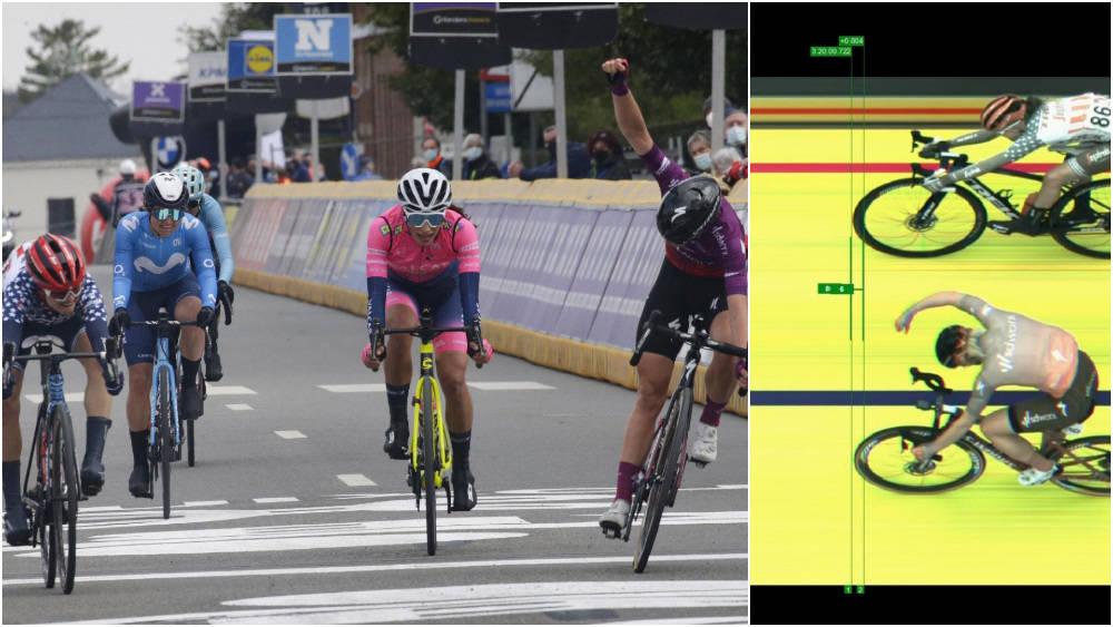 TETT: Demi Vollering trodde hun hadde seieren, men målfotoet viste noe annet. Foto: Cor Vos/skjermdump Eurosport