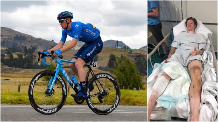UHELDIG: Matteo Jorgenson er en av svært få proffer, om ikke den eneste, som har skadet seg på en bremseskive. Foto: Cor Vos/privat.