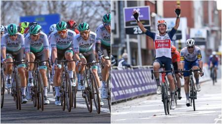 IKKE TIL START: Hverken Bora-hansgrohe eller regjerende vinner Mads Pedersens lag, Trek-Segafredo, er til start i Gent-Wevelgem. Foto: CorVos