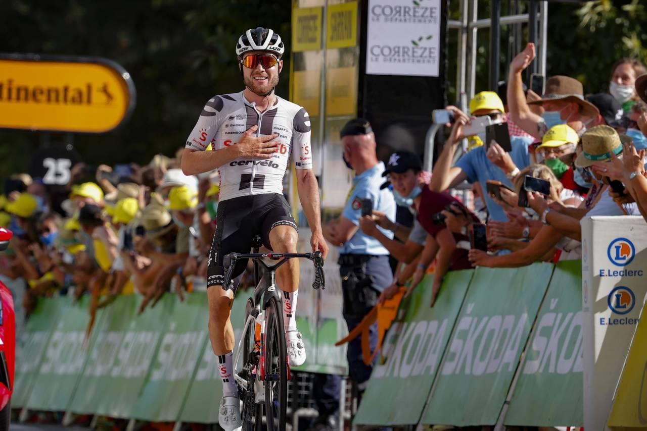 ENDELIG: Marc Hirschi har vært så nære ved flere anledninger i årets Tour, og i dag satt den! Foto: Cor Vos.