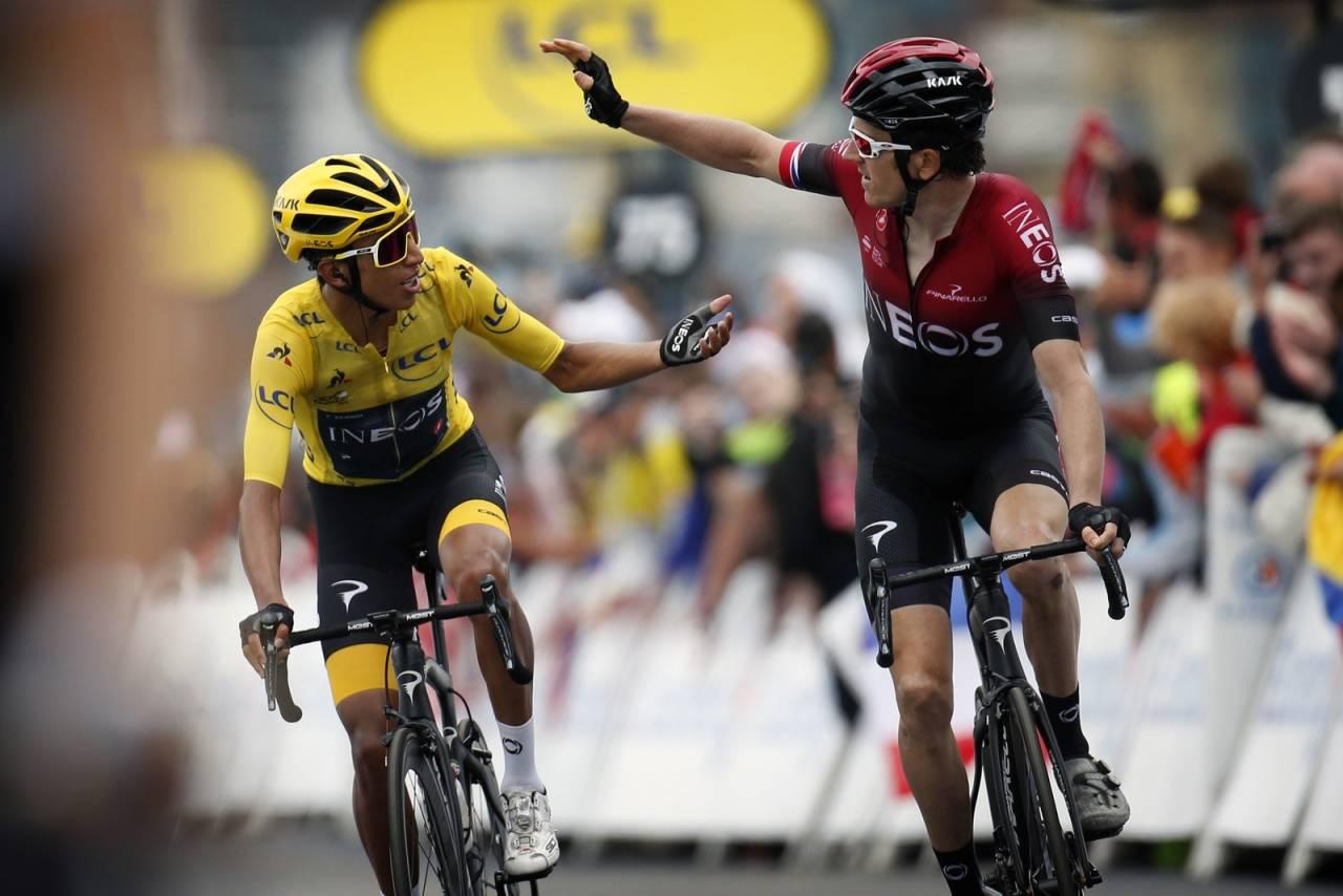 DOBBELTSEIER: Egan Bernal og Geraint Thomas kunne juble for første og andreplass i Tour de France etter dagens etappe. Foto: Cor Vos.