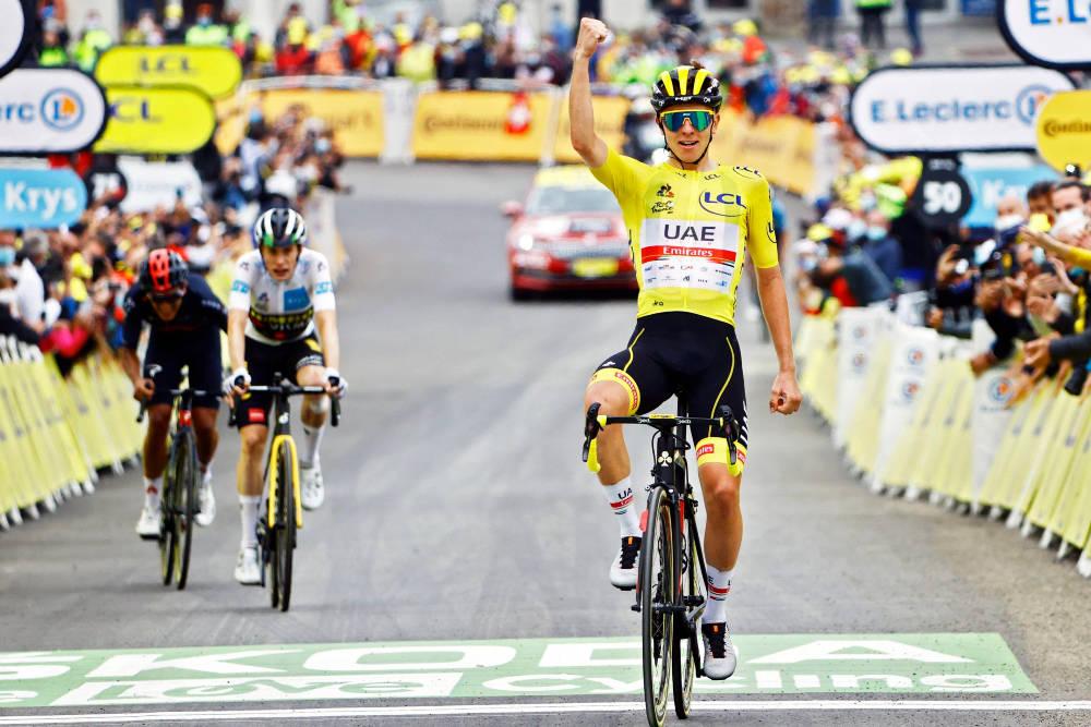 OVERLEGEN: Ingen kunne gjøre noe med Tadej Pogacar på den 18. etappen av Tour de France heller. Foto: Cor Vos