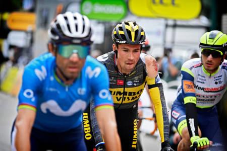 SLAPP BRUDDSKADER: Primoz Roglic gikk hardt i bakken på den tredje etappen av Tour de France. Foto: Cor Vos