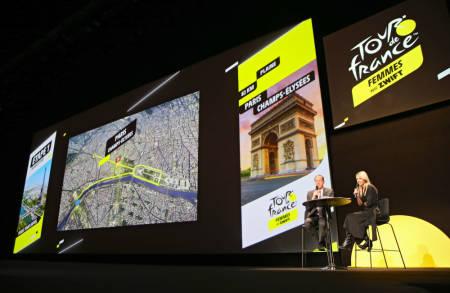 LØYPEN KLAR: Christian Prudhomme og Marion Rousse presenterte Tour de France Femmes 2022. Foto: Cor Vos