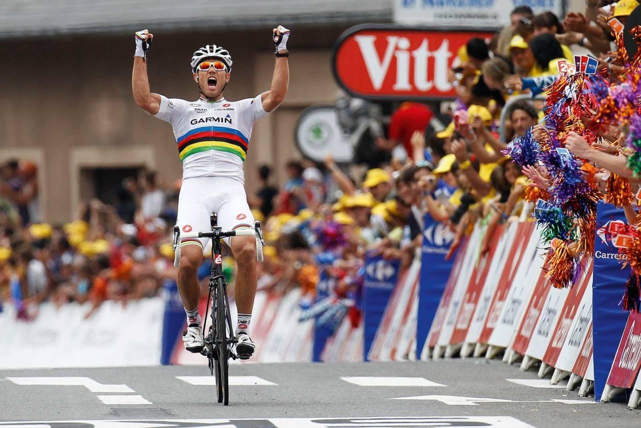 Oksebrøl: Thor Hushovd herjet plutselig i fjellene i Tour de France 2011. Det gav ham to individuelle etappeseiere, syv dager i gul trøye og seier på lagtempoen. Foto: Cor Vos.