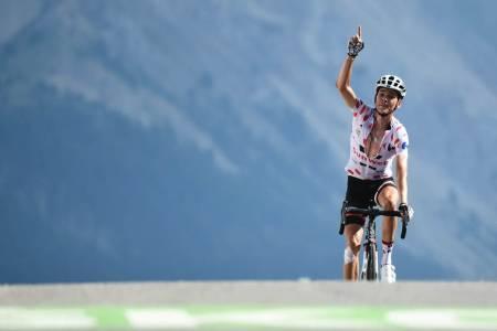 KLATREGEIT: Warren Barguil sikret seg både etappeseieren og klatretrøya etter dagens etappe. Foto: letour.fr