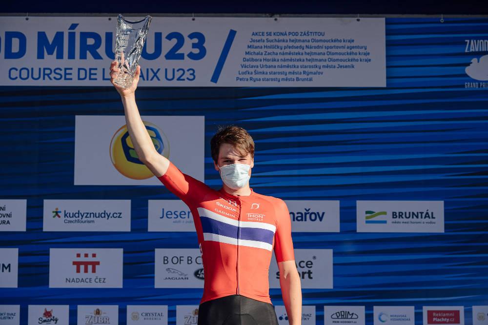 VANT: Søren Wærenskjold, her etter etappeseier i Fredsrittet i starten av juni, vant prologen i Tour de l'Avenir. Foto: Jan Brychta