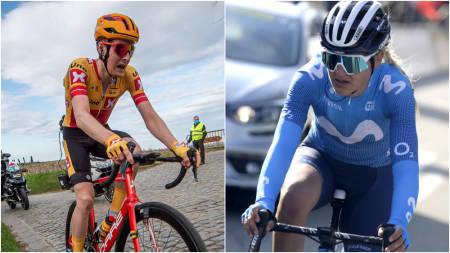 NORSKE HÅP: Markus Hoelgaard (Uno-X Pro Cycling) og Katrine Aalerud (Movistar) er trolig håpene for norske sykkelfans i Brabantse Pijl. Foto: Mario Stiehl/Cor Vos