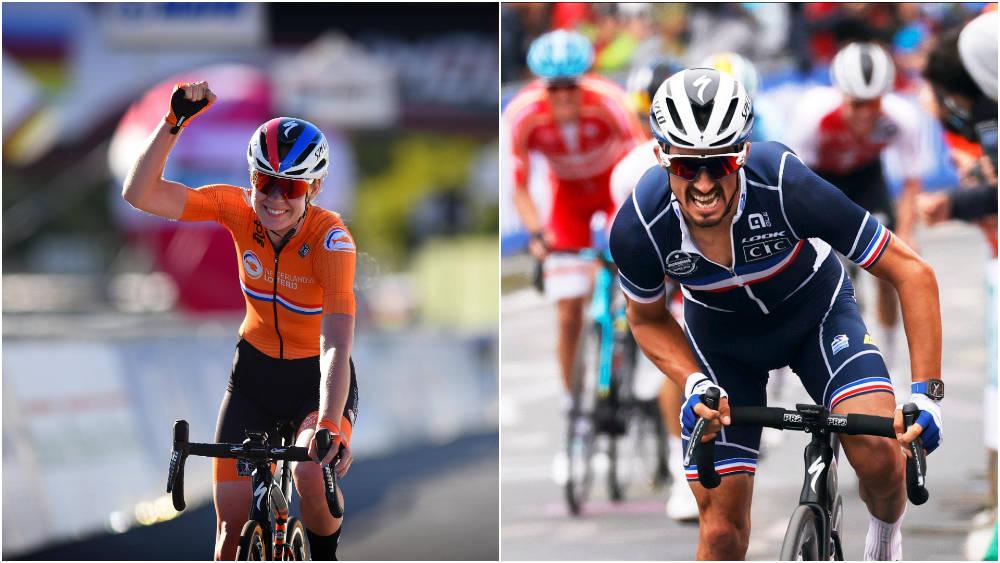 REGJERENDE MESTERE: Anna van der Breggen og Julian Alaphilippe gikk til topps under VM i Imola i 2020. Foto: Cor Vos