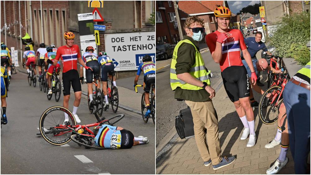 VELTET UT: Søren Wærenskjold fikk VM-rittet sitt ødelagt av en velt. Foto: Cor Vos