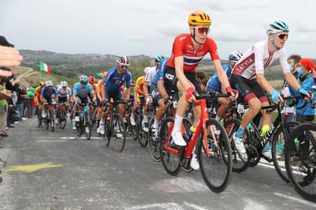 TOPPLASSERING: Markus Hoelgaard, her under fjorårets VM, leverte et glitrende VM-ritt i Flandern. Foto: Photo Gomez/Norges Cykleforbund