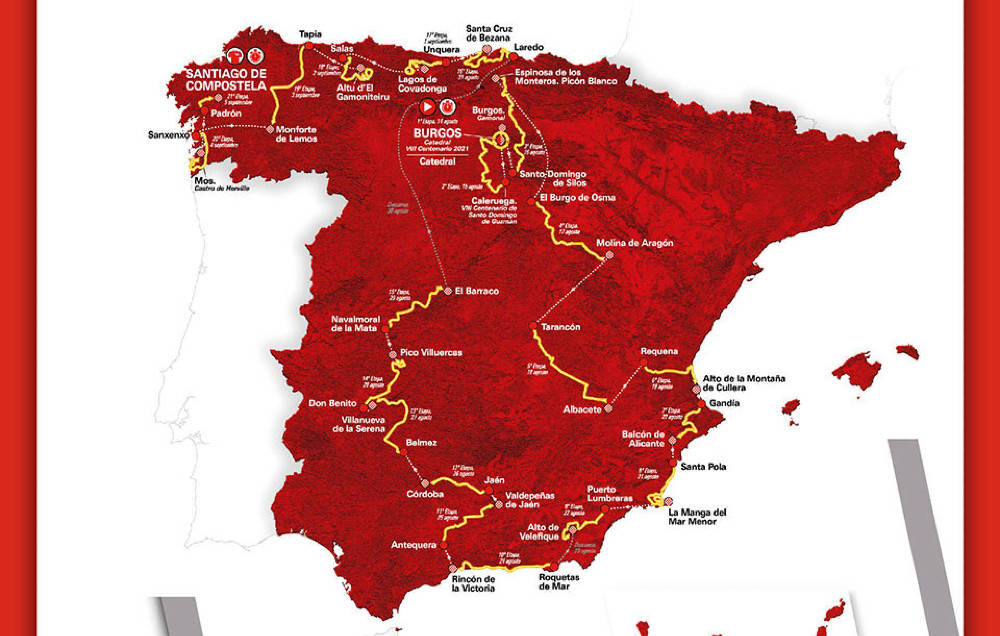 ÅRETS RUTE: Slik blir Vuelta a España i 2021. Foto: ASO