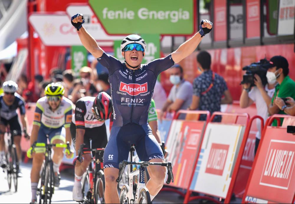 SEIER NUMMER TO: Jasper Philipsen er den foreløpige spurtkongen i årets Vuelta a España, etter å ha vunnet to etapper så langt. Foto: Cor Vos
