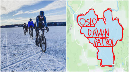 LANGTUR: Oslo Dawn Patrol la i helgen turen til Maridalsvannet i Oslo. Dette ble resultatet. Foto: Hans Flensted-Jensen.