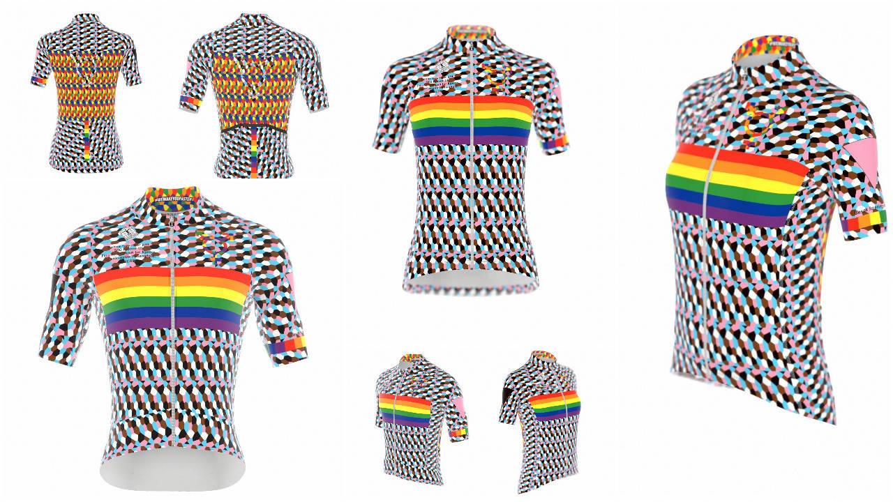 PRIVATPARADE: Målet med trøya var at den skulle se ut som en pride-parade. Det vil vi si at den har greid.