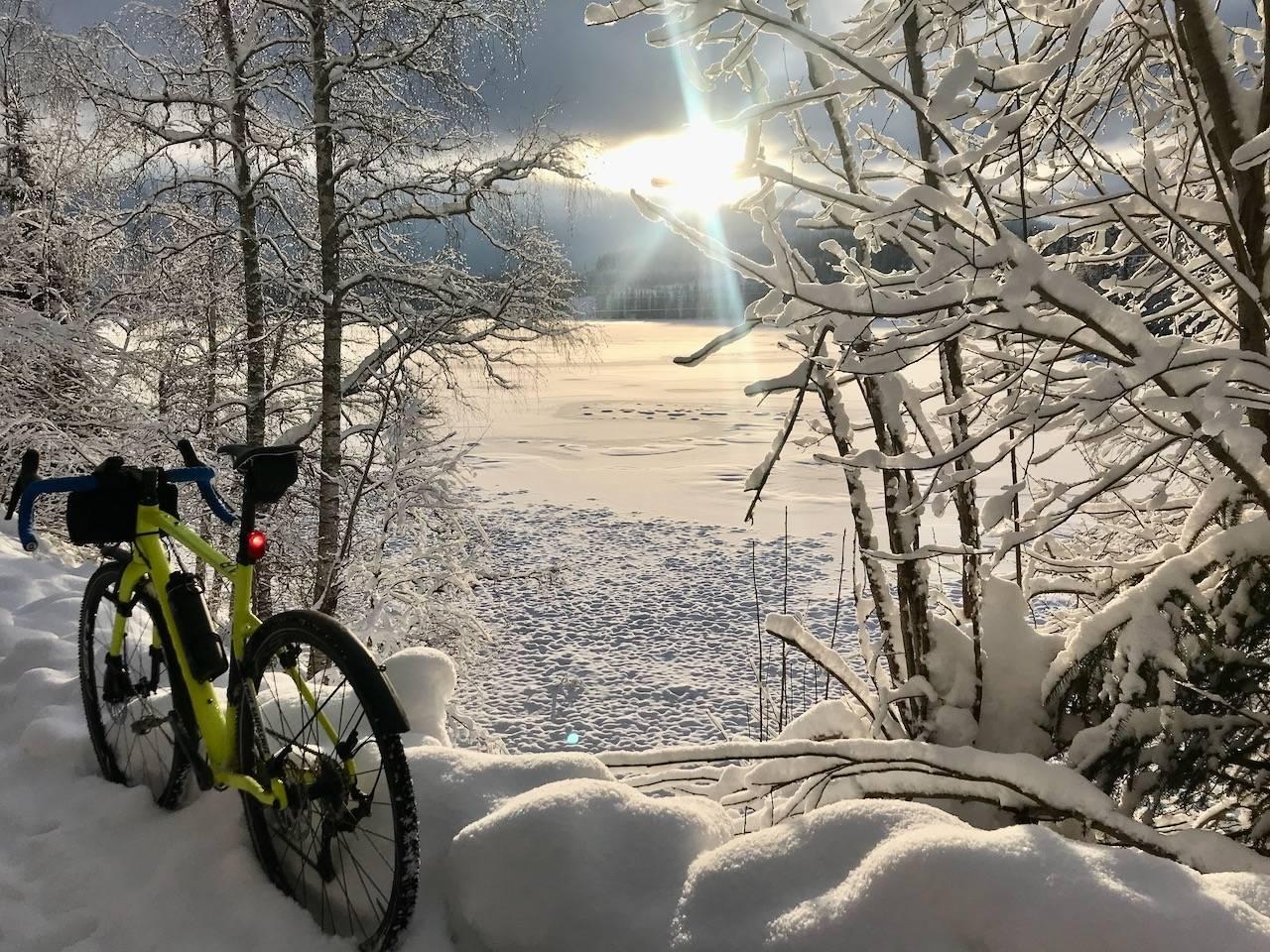 Vintersykling i Oslomarka.